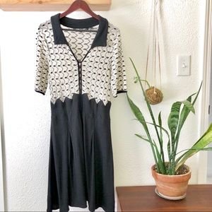 Anthropologie black/cream dress Knitted & Knotted